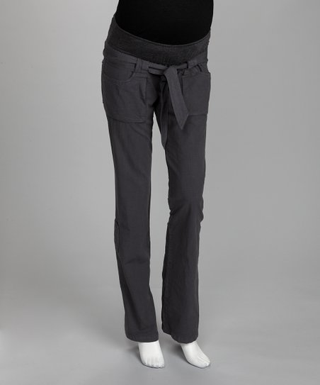 Charcoal Jamie Mid-Belly Maternity Cargo Pants