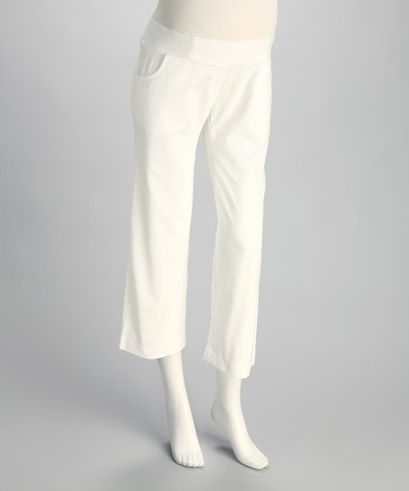 White Jennifer Under-Belly Maternity Capri Pants