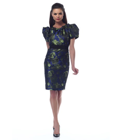 Blue & Green Belted Puff-Sleeve Shaper Dress