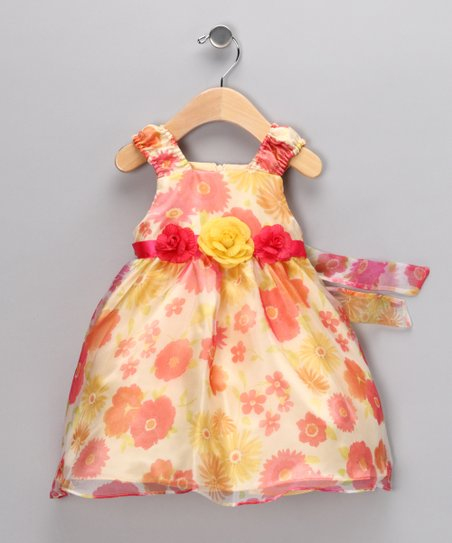 Orange & Yellow Bloom Dress - Infant