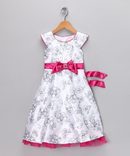 White & Pink Floral Dress - Infant & Toddler