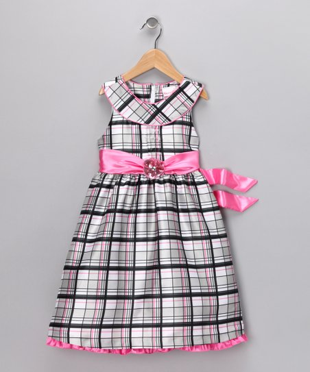 Black & Pink Plaid Dress - Infant
