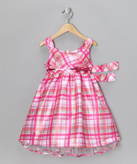 Pink Plaid Bow Dress - Infant