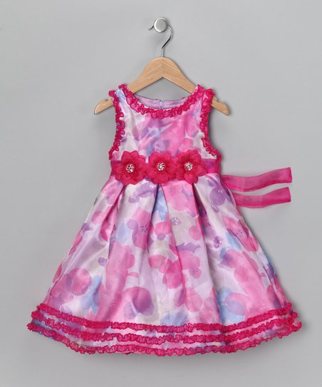 Pink & Purple Floral Ruffle Dress - Infant