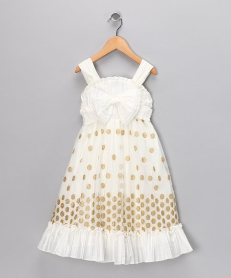 White & Gold Polka Dot Ruffle Dress - Infant