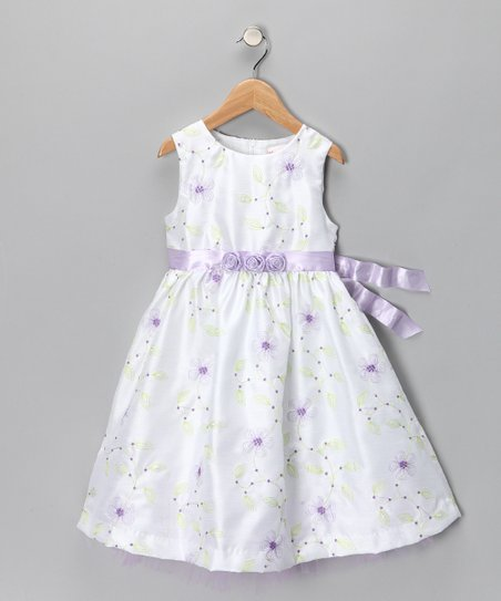 White &amp; Lilac Flower Dress - Infant