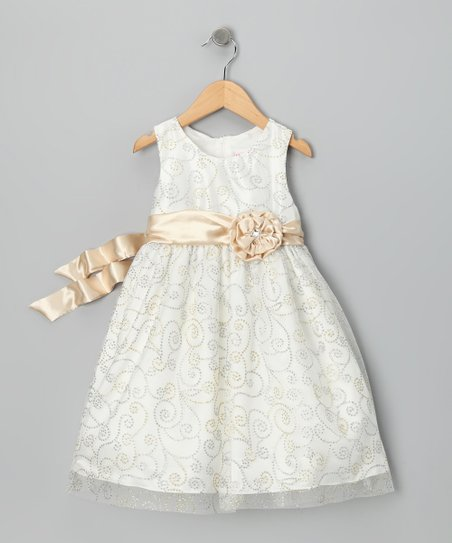 Light Beige Rosette Dress - Infant