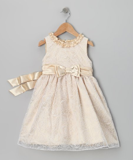 Beige Bow Dress - Infant