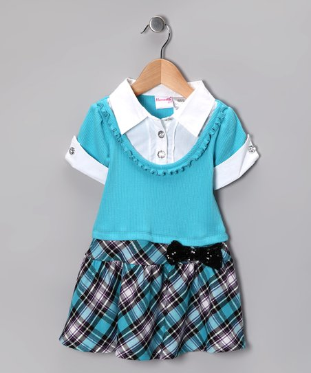 Aqua Plaid Layered Dress - Girls