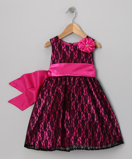 Dark Pink & Black Lace Flower Dress - Infant