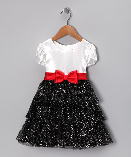 Black Sparkle Ruffle Tiered Dress - Toddler