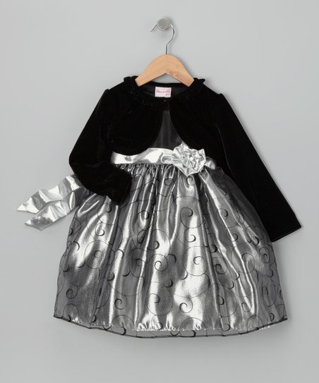 Silver & Black Rosette Dress & Velour Bolero - Toddler & Girls