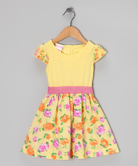 Yellow Floral Dress - Toddler & Girls