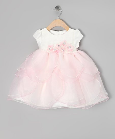 White & Pink Flower Dress & Bloomers - Infant