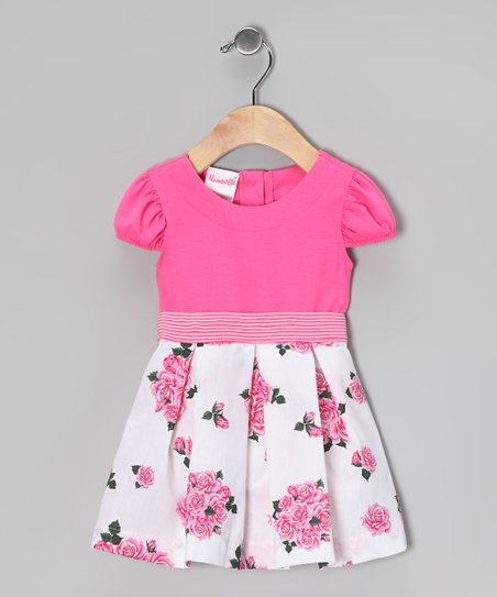 Pink & White Rose Dress & Diaper Cover - Infant