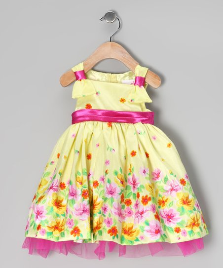 Yellow & Pink Floral Dress & Bloomers - Infant
