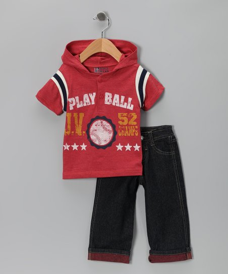 Red 'Play Ball' Henley & Jeans - Infant