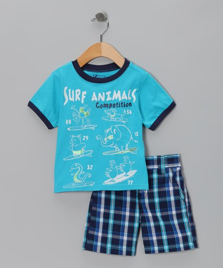 Turquoise 'Surf Animals' Tee & Shorts - Toddler