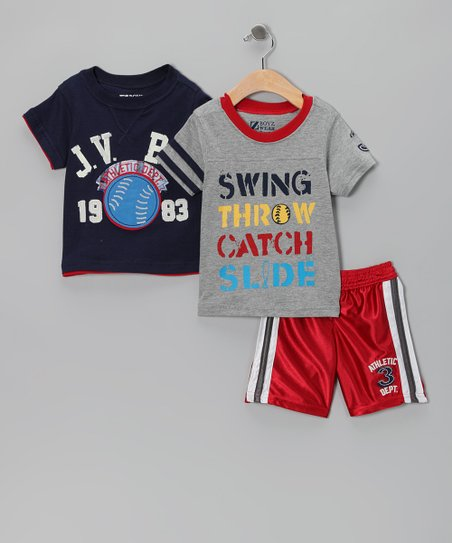 Black & Red Shorts Set - Infant, Toddler & Boys