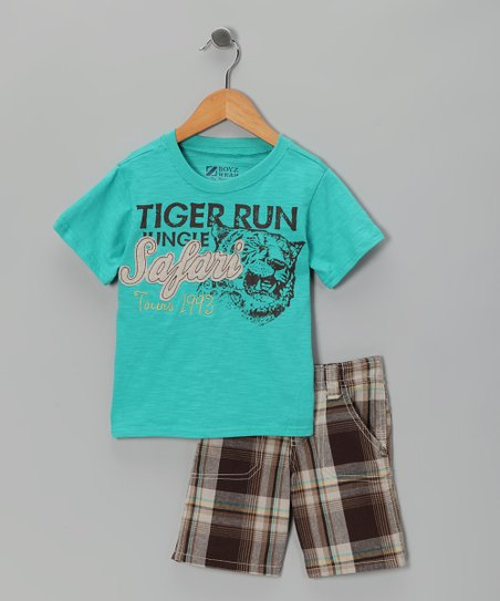 Turquoise 'Tiger Run' Tee & Shorts - Toddler