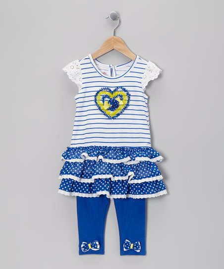 Blue Stripe Heart Tunic &amp; Leggings - Infant, Toddler &amp; Girls