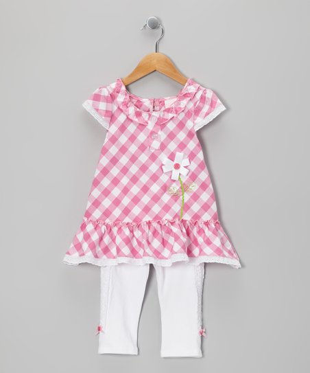Pink Plaid Tunic & Leggings - Toddler & Girls
