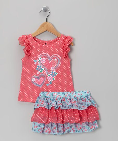 Orange Heart Top & Skirt - Infant, Toddler & Girls