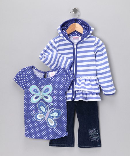 Purple Butterfly Jeans Set - Toddler