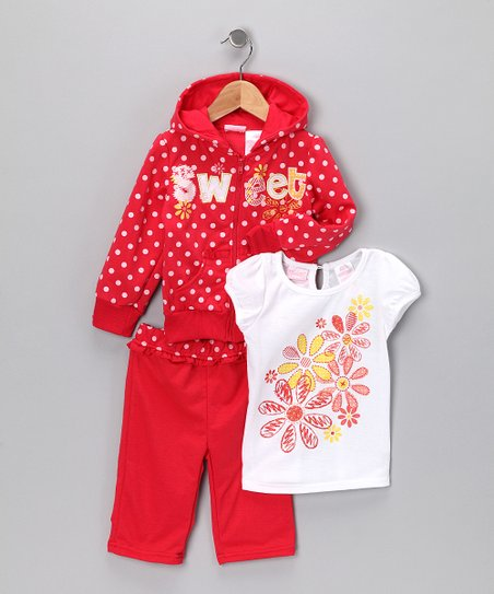 Red Polka Dot Zip-Up Hoodie Set - Toddler & Girls