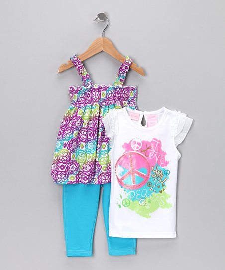 Turquoise Floral Leggings Set - Infant & Toddler