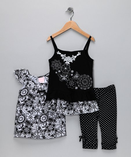 Black & White Floral Tunic Set - Toddler