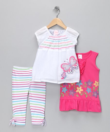 White & Pink Stripe Leggings Set - Girls
