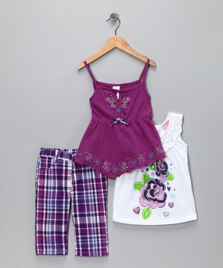 Purple Plaid Capri Pants Set - Infant