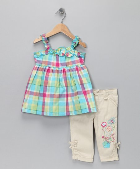Blue Plaid Tank & Pants - Infant