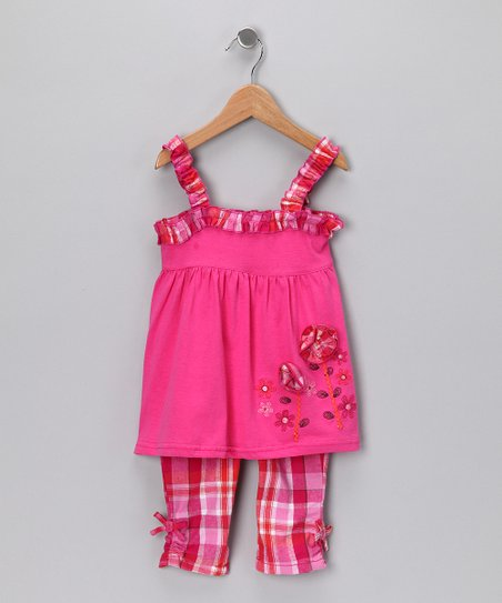 Pink Floral Babydoll Tunic &amp; Pants - Toddler &amp; Girls