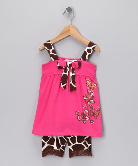 Coral Giraffe Tank &amp; Shorts - Girls
