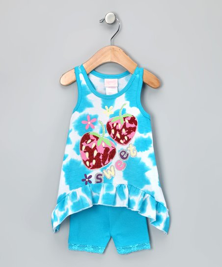 Blue 'Sweet' Sidetail Tank & Shorts - Infant, Toddler & Girls