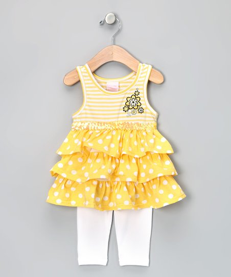 Yellow Ruffle Tunic & Leggings - Toddler & Girls