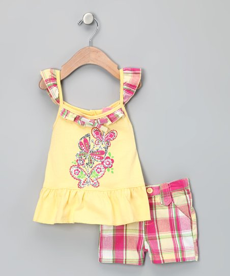 Yellow Butterfly Tank & Shorts - Infant