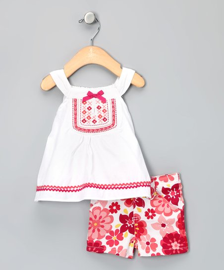 White & Fuchsia Floral Tank & Shorts - Infant
