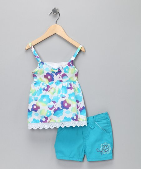 Blue Floral Tank & Shorts - Infant