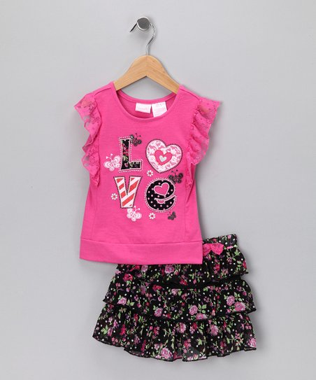 Pink 'Love' Lace Top & Skirt - Infant