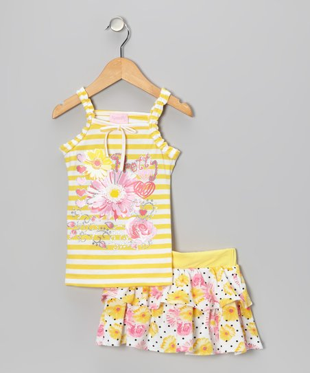 Yellow Stripe 'Pretty' Tank & Skirt - Toddler