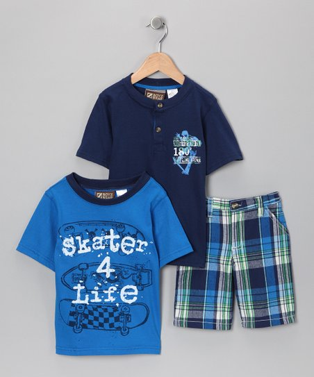 Teal 'Skater 4 Life' Shorts Set - Toddler & Boys