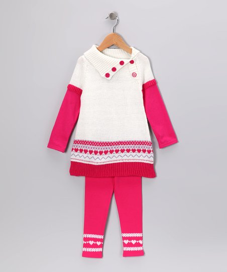 White & Pink Fair Isle Button Tunic & Leggings - Infant