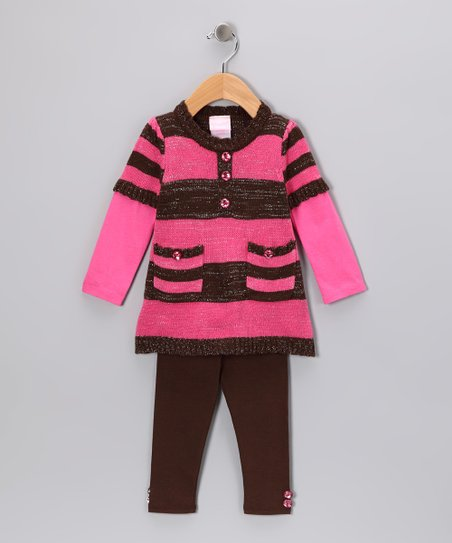 Brown & Pink Stripe Tunic & Leggings - Infant