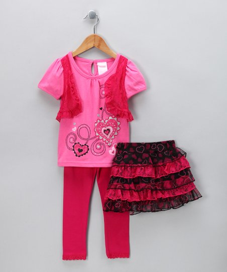Pink Heart Skirt Set - Toddler