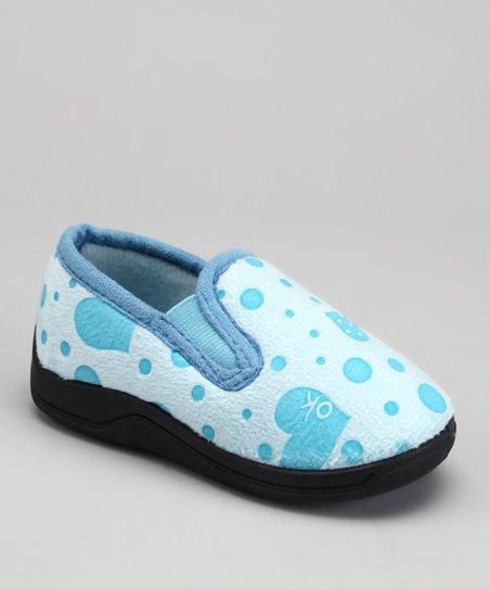 Blue Polka Dot Heart Slipper