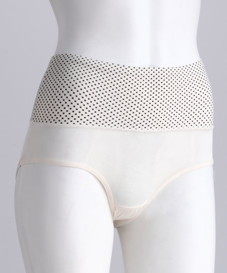 Nude & Black Mesh High-Waisted Shaper Briefs - Women & Plus