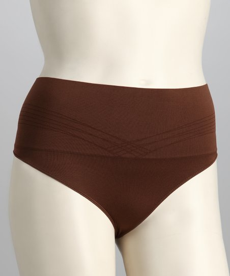 Brown Seamless Low-Rise Shaper Thong - Women